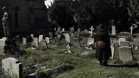 Christina at a cemetery near her Northamptonshire home www.tiktok.com/@thedyerghoulhouse