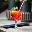 Gin coupe wioth bright red drink, mint and two stripy straws
