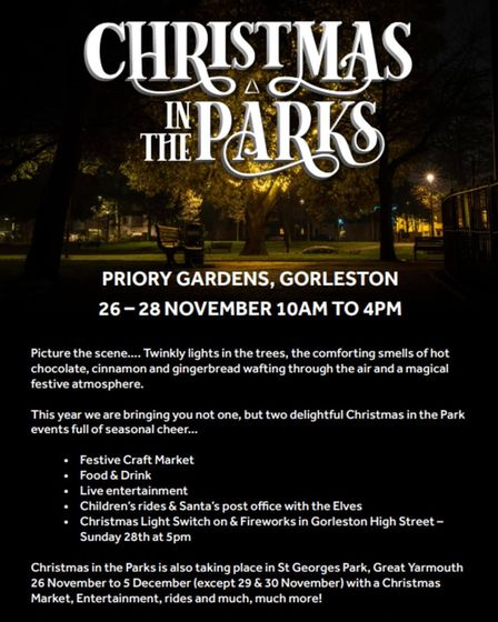 """""""Christmas In The Parks"""" will be held at Priory Gardens in Gorleston and St Georges Park in Great Yarmouth"""