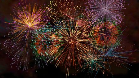 Realistic Colorful firework with smoke for celebrate happy new year 2021 countdown festival annivers