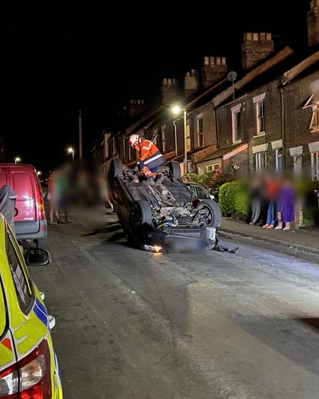 MihaelaBucicoiu was arrested after her car flipped and crashed into three others on Churchill Road in Norwich