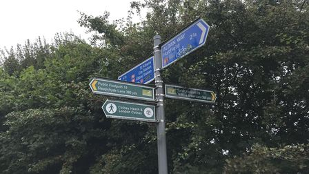 A sign on the Alban Way at Smallford, between St Albans and Hatfield.
