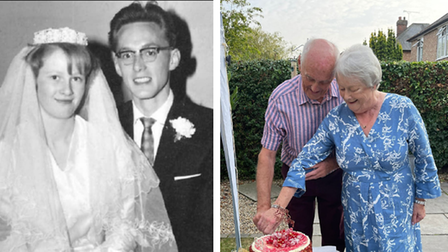 John and Jacqui Crouch on their wedding day and 60th anniversary.