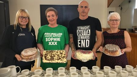 Susie Diggons from Tesco, Sophie Thomas, Darron Thomas and June Start with Macmillan cakes
