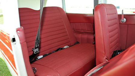 The seats in the cabin of a Cessna 182C