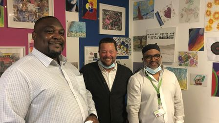 Left to right: Paul Mubu,operations manager, Andy Hardwick, commissioner; Syed Tohel Ahmed, service manager.