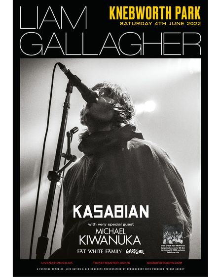 Liam Gallagher will play Knebworth Park on Saturday, June 4, 2022.