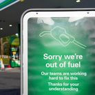 A sign outside a BP petrol station in Birmingham informing people that there is no fuel. Picture dat