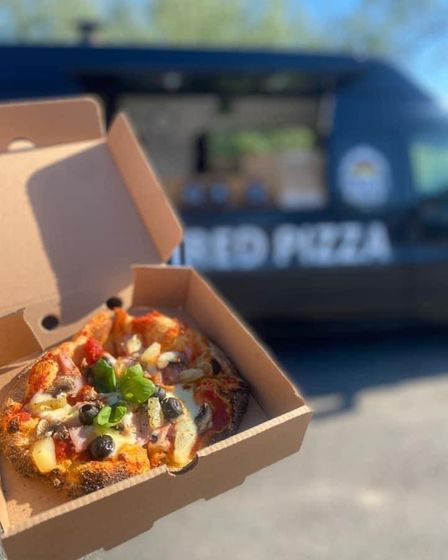 Mobile pizza co van and pizza in box, going to be at the black horse ipswich, and the fat cat ipswich