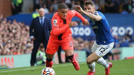 Max Aarons of Norwich and Lucas Digne of Everton in action during the Premier League match at Goodis