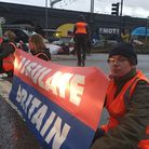 Handout photo issued by Insulate Britain of protesters from Insulate Britain blocking Junction 1