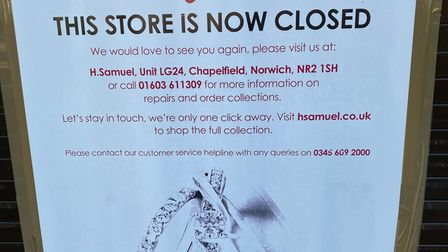 A sign announcing the closure of H Samuel which has only just been taken down