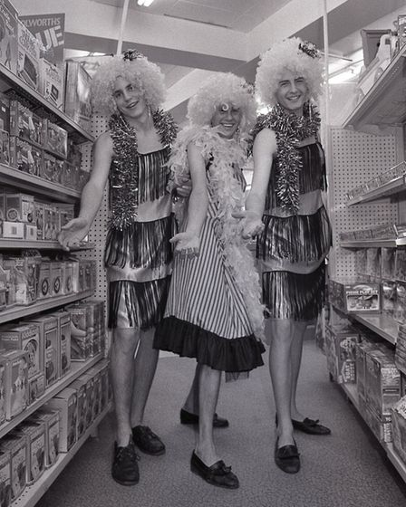 Norwich Woolworths' staff in drag for late night shopping, 24 November 1987. Picture: Archant Librar