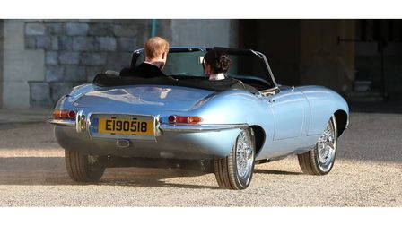 Just married Harry and Meghan in the all-electric E Type