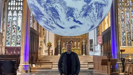 Norwich South MP Clive Lewis under Gaia after the launch event at St Peter Mancroft
