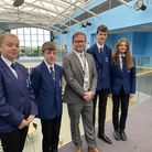 New head of Pakefield High SchoolDan Bagshaw with students.
