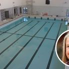 The pool at The Reef in Sheringham has now been filled as the centre nears completion, inset, Virginia Gay.