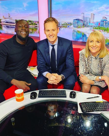 Louise Minchin with co-host Dan Walker and Stormzy