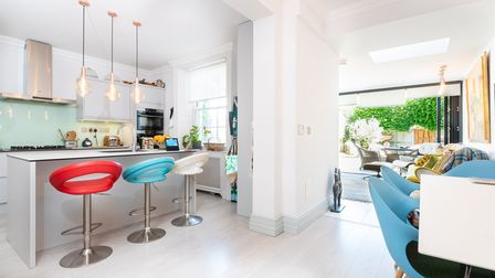 Modern sleek kitchen diner in this 5-bed townhouse on St Stephens Road in Norwich which is for sale