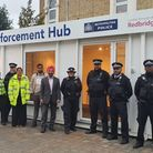 Cllrs Khayer Chowdhury and Jas Athwal (centre) meet police and council enforcement officers at the York Road hub