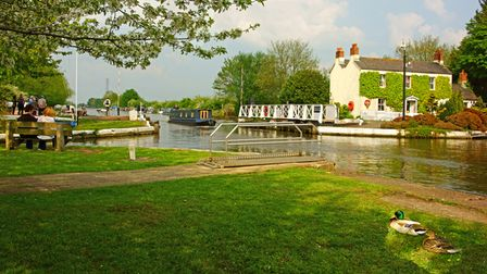 A canal barge going through Saul Junction in Spring on the Gloucester to Sharpness canal, Saul, Glou