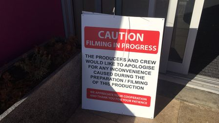 A filming in progressnotice outside at The Galleria in Hatfield.