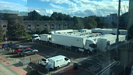 The film crew'sbase in the car park at The Galleria in Hatfield.