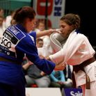 Amy Platten (white), seen in 2015, is up to 60 in the world judo rankings for the 48kg category.