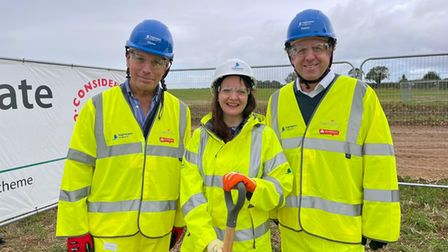 David Warburton MP, Hannah Sanderson and Marcus Fysh MP at the start of works ceremony on the A303 at Sparkford