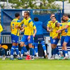 Goal celebrations for Dan Holman of Torquay United during the National League match between Torquay