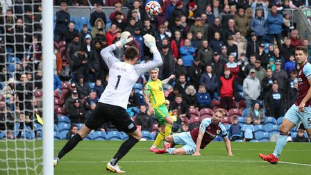 Norwich City midfielder Mathias Normann clipped the top of the Burnley bar with this effort