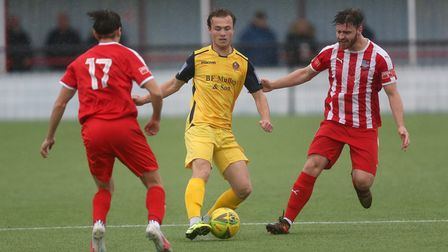 Mickey Parcell of Hornchurch and Daniel Trendall of Bowersl during Bowers & Pitsea vs Hornchurch, Em