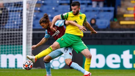 Captain Grant Hanley was a resolute figure in Norwich City's defence at Burnley