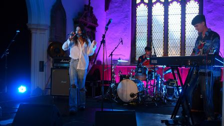 Georgie sings at St Stephens Church for the Sound City Music Festival in Ipswich. Picture: DENISE BR