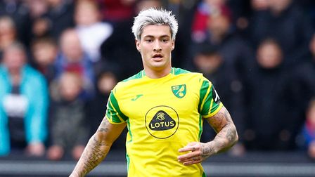 Mathias Normann of Norwich in action during the Premier League match at Turf Moor, BurnleyPicture b