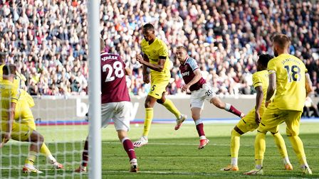 West Ham United's Jarrod Bowen scores their side's first goal of the game during the Premier League