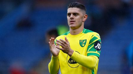 Milot Rashica of Norwich applauds the traveling support at the end of the Premier League match at Tu