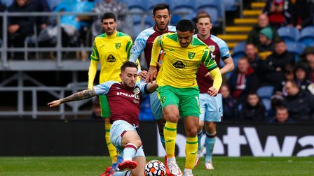 Ozan Kabak of Norwich starts his run from box to box that ends up with him being pulled down by Jay
