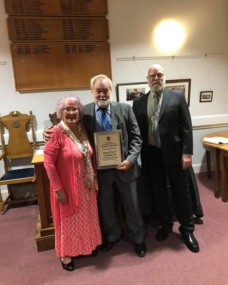 Bob Sprange of Rotary Club of Clevedon Yeo with his award.