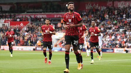 Bournemouth's Philip Billing celebrates after scoring the first goal of the game during the Sky Bet
