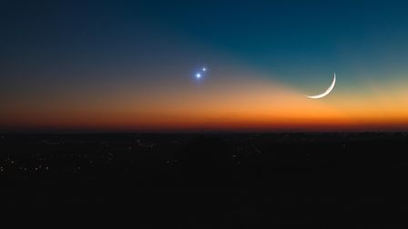 The astronomical conjunction of Saturn, Jupiter and the Moon