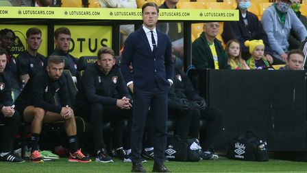 Bournemouth Manager Scott Parker during the Carabao Cup Second Round match at Carrow Road, Norwich