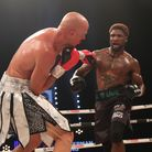 CHAMPIONSHIP BOXING SSE ARENA WEMBLEY PIC;LAWRENCE LUSTIGCRUISERWEIGHT CONTESTMIKAEL LAWAL STOPS
