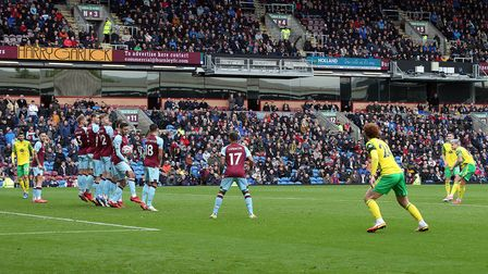 Mathias Normann of Norwich has a shot on goal from a free kick during the Premier League match at Tu
