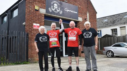Barbara and Wally Dell with Sue and Terry Willgoss during the virtual London Marathon.