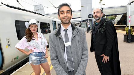 St Albans station manager, Harsitt Chandak, joins actors from The Maltings Theatre.