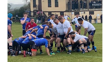Nailsea and Backwell RFC's dominant scrum in Saturdays clash with Wells RFC.