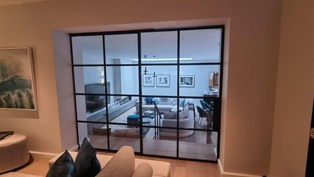 Crittall window Innervision interior screen to separate living space in the home by Metwin in Essex.