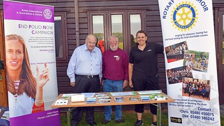 Malcolm Lyons (centre) at the Rotary event in Hinchingbrooke Park.