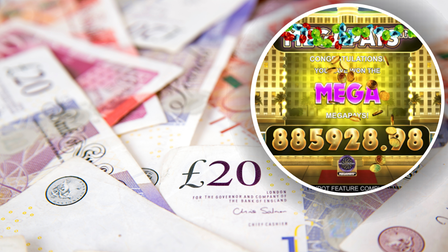 Betfairs Millionaire megaplays game embedded in a background of cash